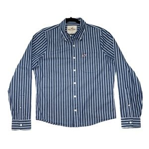 Hollister Blue with White Stripes Button Down